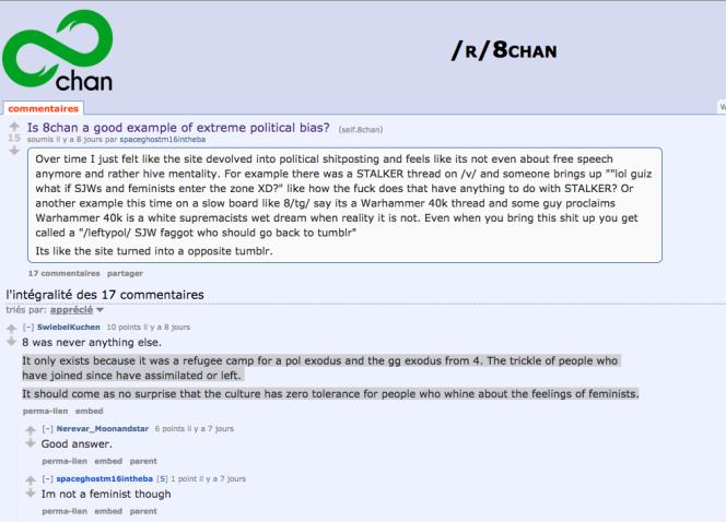 Sur 8chan, les propos extrêmes sont la norme, en raison même de l'historique du site, né de la modération de 4chan.