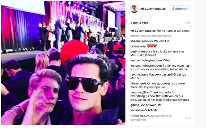 Milo Yiannopoulos sur Instagram.