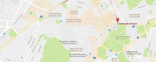 Localisation de l'ambassade de France à Athènes.