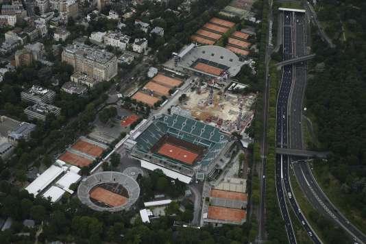 Le stade de Roland-Garros vu du ciel, en juillet 2016.