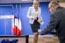 Marine Le Pen après l'élection de Donald Trump, au siège du FN à Nanterre, mercredi 9 novembre.