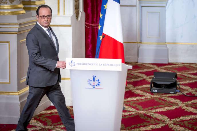 François Hollande, président de la république, fait une déclaration après l'élection de Donald Trump à la présidence américaine. Palais de l