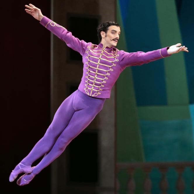 Le danseur Alessio Carbone durant une répétition du ballet «Mademoiselle Julie», chorégraphiépar Birgit Cullberg à l'Opéra Garnier à Paris en février 2014.