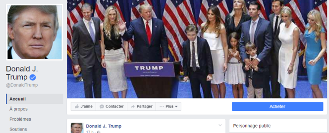 Capture d'écran de la page Facebook de Donald Trump.
