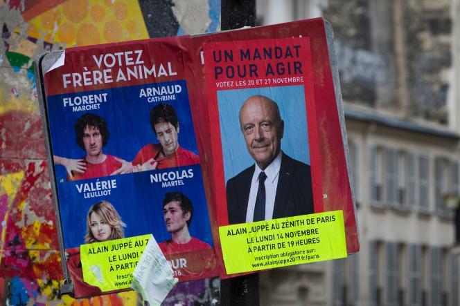 Affiche annonçant la tenue d'un meeting en soutien à Alain Juppé en vue de la primaire de la droite, le 13 novembre à Paris.