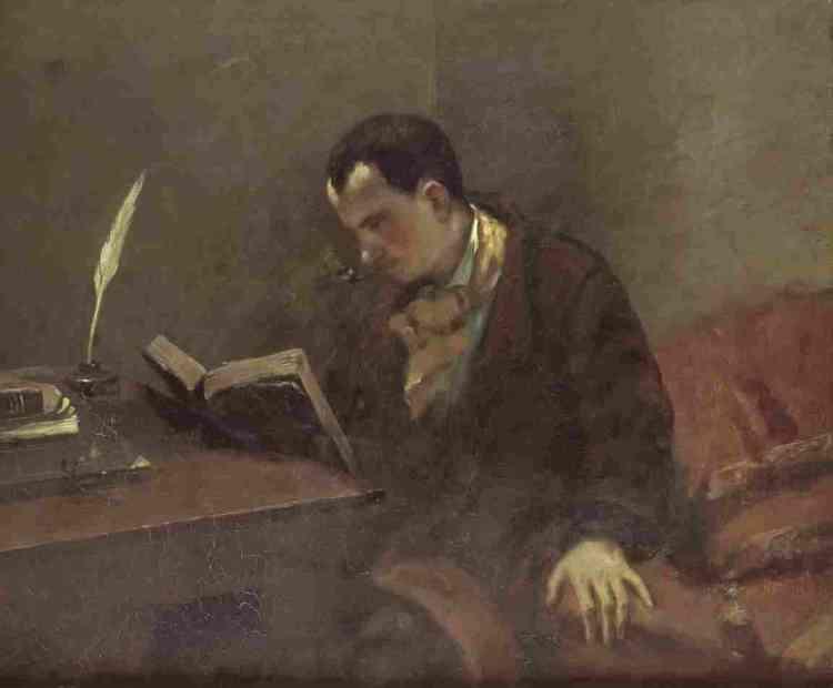 """«Le peintre et le poète partageaient, en 1847 et 1848, les mêmes idées révolutionnaires. Ils étaient très liés alors. Mais si Courbet est resté républicain, Baudelaire, sous l'influence de Joseph de Maistre et d'Edgar Allan Poe, s'est rallié à une pensée conservatrice pour ne pas dire réactionnaire. Ce portrait date du temps de leur amitié. Courbet l'a transposé presque tel quel dans son grand tableau """"L'Atelier"""", où on voit le poète lisant devant la silhouette effacée de Jeanne Duval.»"""