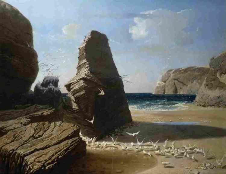 """«Tableau presque surréaliste, comme le yucca de Chazal, découvert par Baudelaire au Salon de 1859 : """"L'azur intense du ciel et de l'eau, deux quartiers de roche qui font une porte ouverte sur l'infini (vous savez que l'infini paraît plus profond quand il est plus resserré), une nuée, une multitude, une avalanche, une plaie d'oiseaux blancs, et la solitude"""".»"""