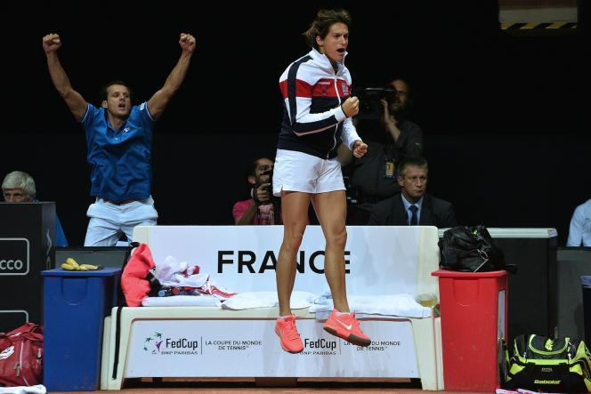 En demi-finale face aux Pays-Bas, le 17 avril 2016 à Trélazé.