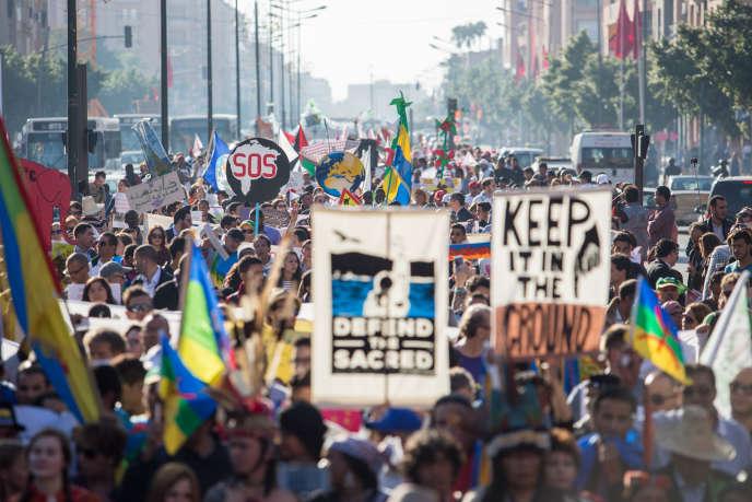 Pendant laMarche mondiale pour le climat, le 13 novembre à Marrakech.