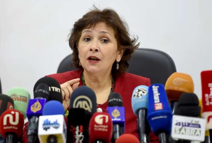 Sihem Bensedrine, la présidente de l'Instance vérité et dignité, le 14 novembre à Tunis.