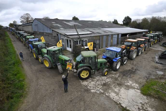 Les agriculteurs français membres du collectif«Copain 44», opposés à la construction de l'aéroport, le 10 novembre, près de Notre-Dame-des-Landes.