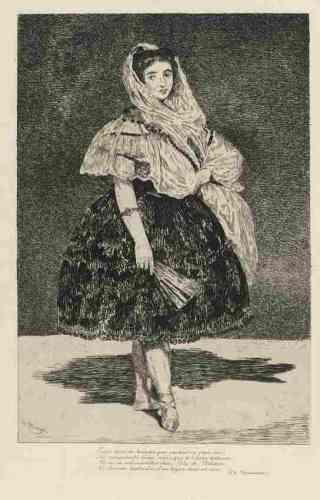"""«Bien qu'ils furent liés d'amitié, Baudelaire n'a pas reconnu le génie de Manet. Bien pis, il le considérait comme """"le premier dans la décrépitude de (son) art"""". Seules les gravures de Manet trouvent grâce à ses yeux; elles traduisent l'influence de Velasquez et de Goya. Et """"Lola de Valence"""", pour laquelle il a composé son fameux quatrain, la célébrant comme """"un bijoux rose et noir"""".»"""