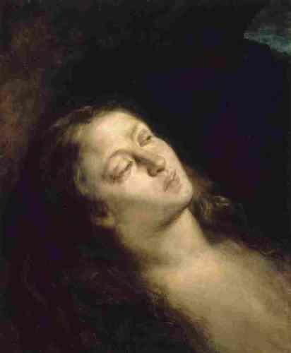 """«Dès le Salon de 1845, Baudelaire célèbre Delacroix comme le plus grand peintre de son temps. Il restera fidèle à cette conviction toute sa vie. """"Nul, à moins de la voir – écrit-il à propos de cette Madeleine –, ne peut imaginer ce que l'artiste a mis de poésie intime, mystérieuse et romantique dans cette simple tête"""".»"""