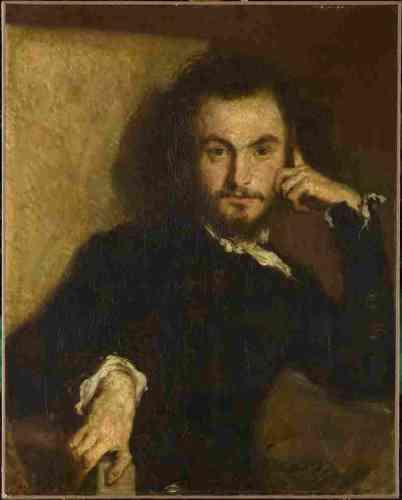 """«Emile Deroy a été le guide de Baudelaire visitant les Salons de 1845 et 1846. Ce portrait du jeune dandy date de l'époque où Baudelaire s'était installé à l'hôtel Pimodan, dans l'île Saint-Louis et où il s'était représenté sous les traits de Samuel Cramer dans sa nouvelle, """"La Fanfarlo"""" : """"Samuel a le front pur et noble, les yeux brillants comme des gouttes de café, le nez taquin et railleur, les lèvres impudentes et sensuelles, le menton carré et despote, la chevelure prétentieusement raphaélesque"""".»"""