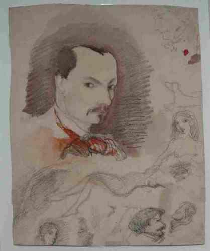 «Baudelaire avait un réel talent de dessinateur. On connaît de lui une série de caricatures et, surtout, des autoportraits. Celui-ci le montre les cheveux courts, comme dans le portrait de Courbet. Il date sans doute de la même époque, c'est-à- dire de 1847 ou 1848. Il a été retrouvé très récemment dans le fonds Geoffroy-Dechaume, du sculpteur qui fut le voisin de Baudelaire dans l'île Saint-Louis.»
