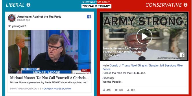 Le projet du «Wall Street Journal» détaillant les différences d'informations auxquelles les membres de Facebook sont exposées, en fonction de leur couleur politique.