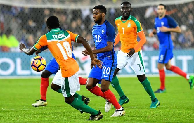Lors du match amical entre la France et la Côte d'Ivoire, le 15 novembre, à Lens.