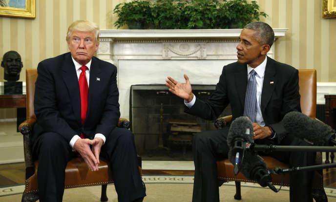 Donald Trump et Barack Obama, lors de leur rencontre dans le bureau Ovale, le 10 novembre.