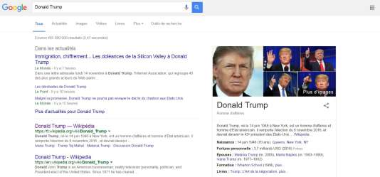 Capture d'écran de la recherche google« Donald Trump».
