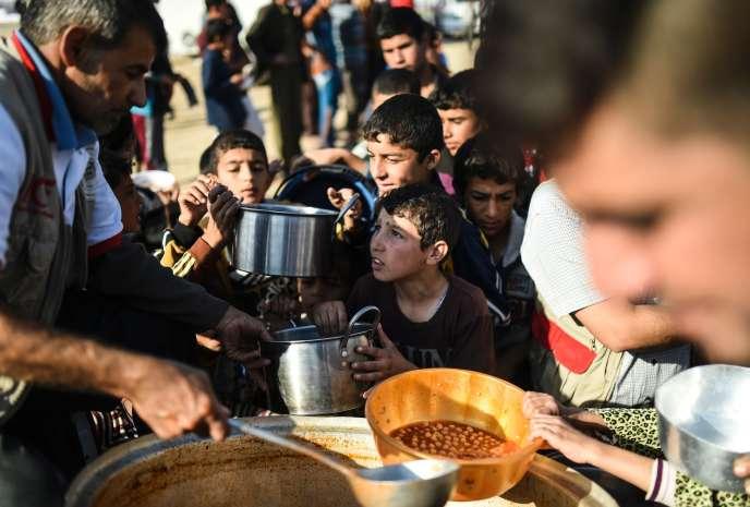 Distribution de nourriture aux déplacés venus de Mossoul dans le camp deKhazir le 5 novembre.