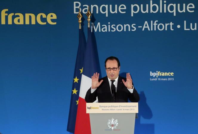 François Hollande lors d'un meeting de BPI, en mars 2015, à Maison-Alfort.