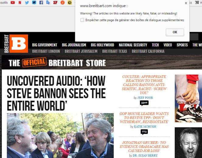 Capture d'écran Google/Breitbart.com