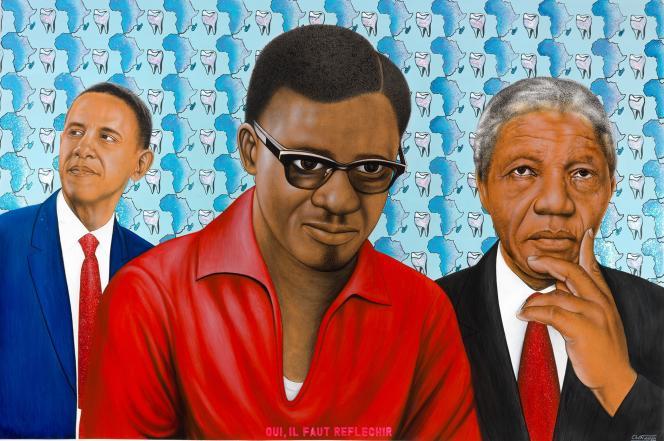 «Oui, il faut réfléchir»(acrylique sur toile, 2014),de Chéri Samba (F.Kleinefenn/Courtesy galerie Magnin-A).Comme sur tous les tableaux de l'artiste, les mots sont aussi importants que la peinture. Dans «Oui, il faut réfléchir», l'auteur rend hommage à trois personnalités majeures qu'il considère comme des icônes de l'Afrique: le premier président noir américain, Barack Obama, le héros de la lutte antiapartheid, Nelson Mandela, et Patrice Lumumba, l'une des principales figures de l'indépendance du Congo belge, pays où naquit Chéri Samba en1956.C'est à Kinshasa que Samba wa Mbimba N'zingo Nuni Masi Ndo Mbasi, alias Chéri Samba, commence sa carrière artistique à l'âge de 16ans en dessinant des pancartes et des affiches publicitaires. En1975, il ouvre son propre atelier, «Chéri Samba, artiste populaire», et se fait bientôt connaître par ses tableaux aux couleurs éclatantes, parfois rehaussés de paillettes, accompagnés d'un «message» par lequel il critique et «interpelle les consciences».En1989, une exposition au Centre Georges-Pompidou, à Paris, lui vaut une renommée internationale. Ses œuvres ont notamment été exposées à la Fondation Cartier, à Paris, au Musée Guggenheim de Bilbao, à la Biennale de Venise ou au Musée d'art moderne à New York.