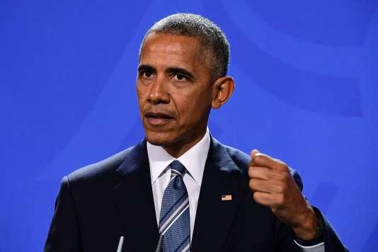 Barack Obama lors d'une conférence de presse avec la chancelière allemande, Angela Merkel, jeudi 17 novembre.