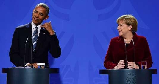 Le chef d'Etat américain et la chancelière allemande ont donné une conférence de presse commune à l'issue du dernier déplacement officiel de Barack Obama en Europe en tant que président des Etats-Unis.