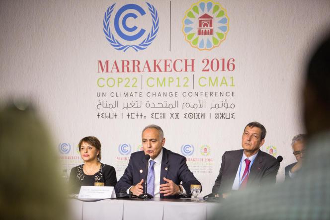 Salaheddine Mezouar, président de la COP22, lors d'une conférence de presse, le16novembre2016.