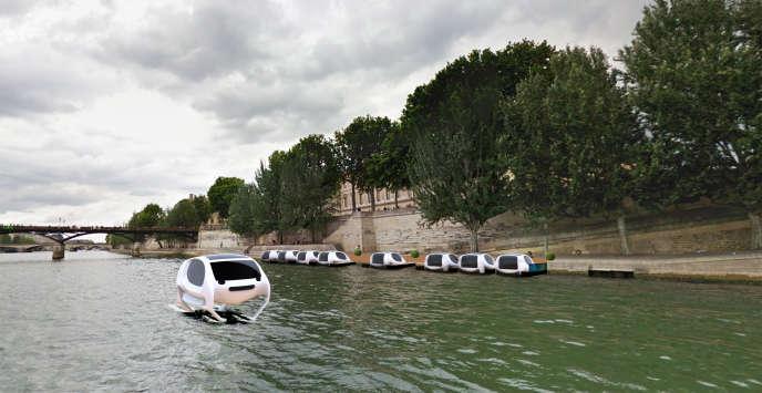 Image de synthèse représentant le SeaBubble. Le bateau est perché sur deux «foils», des lames qui permettent de le sortir de l'eau.