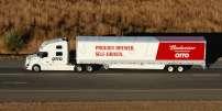 Un camion sans chauffeur mis au point par Otto, filiale d'Uber, sur une route du Colorado, le 20 octobre 2016.