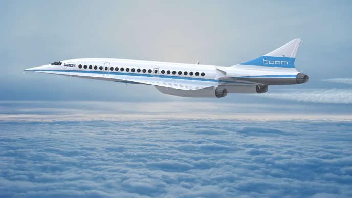 Image de synthèse du prototype d'avion supersonique Boom.