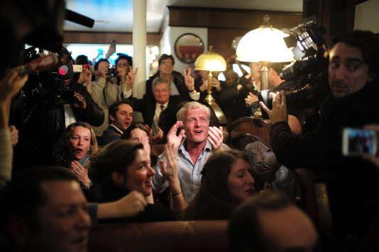 Les militants de François Fillon à l'annonce des résultats de leur candidat, le20novembre.