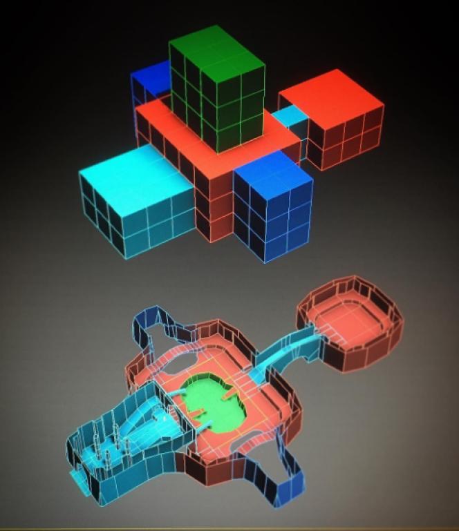 Logiciel de création de niveaux à partir de voxels (pixels 3D) utilisé par Michel Ancel.