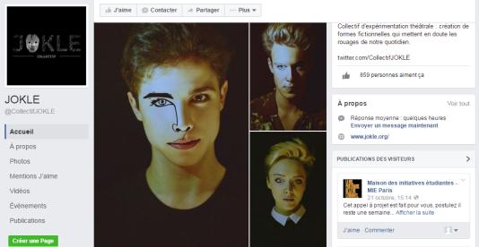 Sur Facebook, le collectif de théâtre Jokle affiche une communication soignée pour ses 850 abonnés
