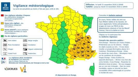 La carte météo du lundi 21 novembre.