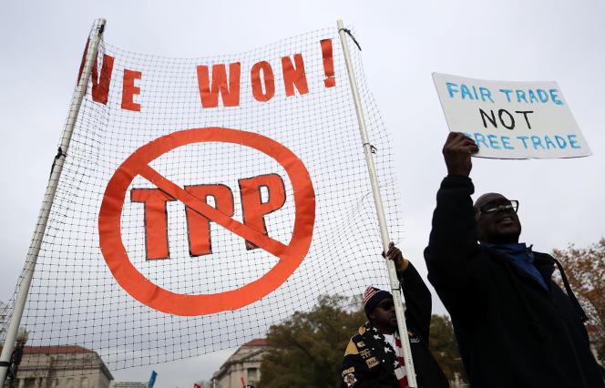 Manifestation contre le Partenariat transpacifique (TPP), le 14novembre, à Washington.