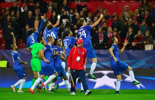 Les joueurs de la Juventus célèbrent leur victoire, mardi.