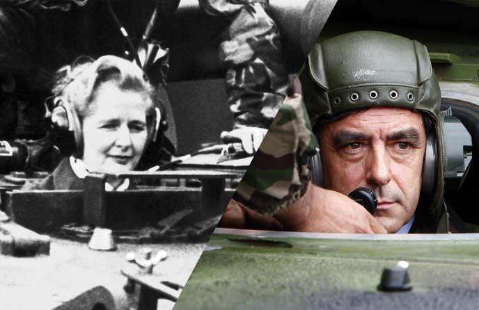 Margaret Thatcher dans un tank en janvier 1976, François Fillon dans un tank en septembre 2007.