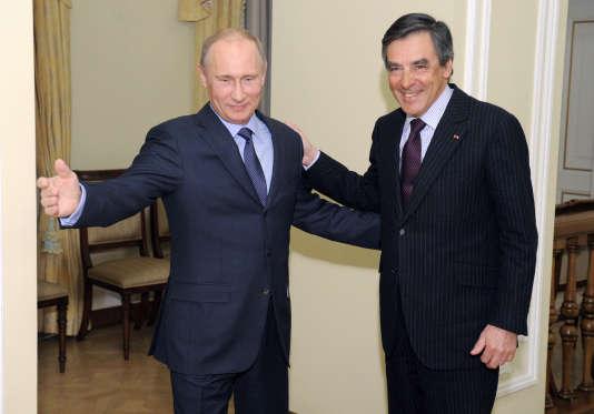 Le président de Russie Vladimir Poutine et François Fillon se rencontrent à Moscou, en 2013.