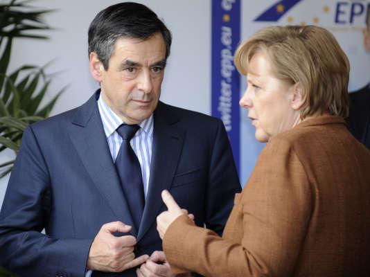 François Fillon, alors premier ministre, et Angela Merkel, en mars 2011 à Meise, près de Bruxelles.