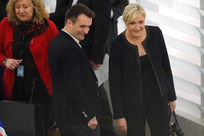 Florian Philippot et Marine Le Pen, à Strasbourg, le 22 novembre.