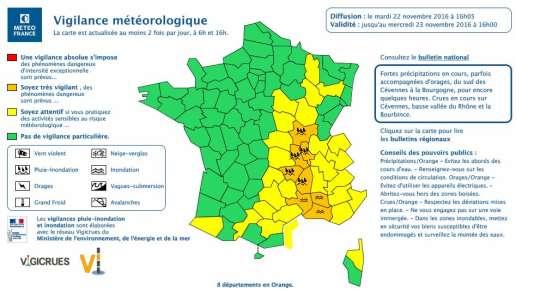 Le bulletin prévisionnel de Météo France, mardi 22 novembre, à 16 heures.