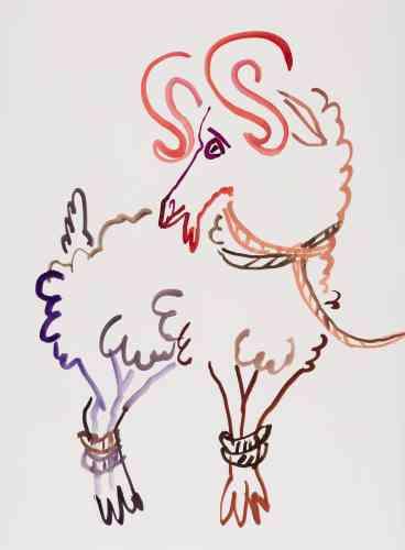 « La Chèvre Lucky colors : vert, rouge, violet » J'aime mes attaches être serrée voir clair simple comme la pluie et ou peut-être non passans l'indomptable courbe de mes cornes. Quelle force a la pierre qui tombe droit pas errant.