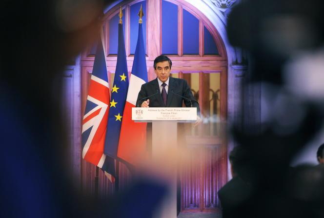 François Fillon, alors premier ministre, lors d'une visite à Londres en janvier 2011.