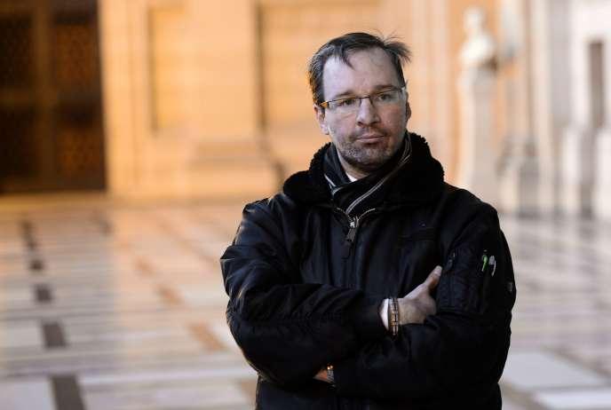 Maxime Gaget au tribunal de grande instance de Paris, le 29 janvier, lors du procès de son ex-compagne en première instance.
