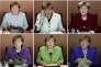 Angela Merkel lors de différents conseil des ministres à la chancellerie de Berlin en 2016.
