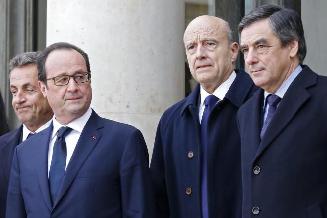 François Hollande, vainqueur de la primaire de la gauche en 2011, aux côtés de Nicolas Sarkozy, Alain Juppé et François Fillon, en janvier 2015.