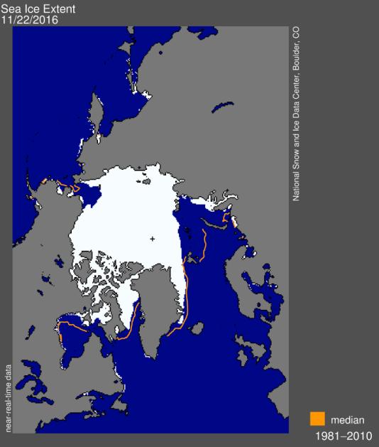Etendue de la banquise arctique le 22 novembre, comparée à la moyenne de la période 1981-2010 (en orange).